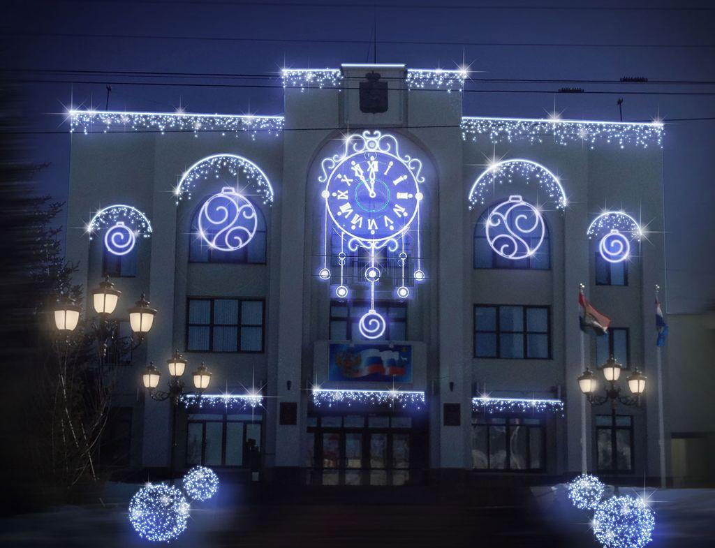 новогодняя подсветка фасада